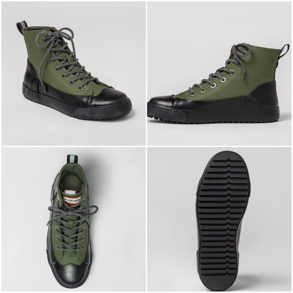 e9c11676624 Hunter Other - HUNTERS • Dipped Canvas High Top Sneakers • Olive